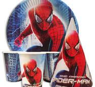 """Набір для дитячого дня народження """" Людина павук """" Тарілки - 10 шт Скляночки - 10 шт Ковпачки - 10 шт"""