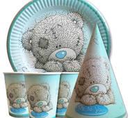 """Набір для дитячого дня народження """" Ведмедик Теді """" Тарілки - 10 шт Скляночки - 10 шт Ковпачки - 10 шт"""