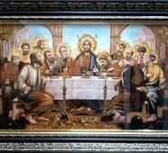 """Икона из янтаря """"Тайная вечеря (Старославянская)"""" 30х60 см в стекле"""