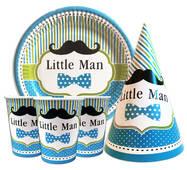 """Набір для дитячого дня народження """" Little man """" Тарілки - 10 шт Скляночки - 10 шт Ковпачки - 10 шт"""