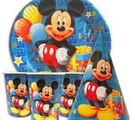 """Набір для дитячого дня народження """" Микки Маус синій """" Тарілки - 10 шт Скляночки - 10 шт Ковпачки - 10 шт"""