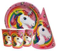 """Набір для дитячого дня народження """" Одноріг """" Тарілки - 10 шт Скляночки - 10 шт Ковпачки - 10 шт"""