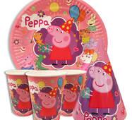 """Набір для дитячого дня народження """" Свинка Пеппа """" Тарілки - 10 шт Скляночки - 10 шт Ковпачки - 10 шт"""