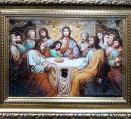 """Икона из янтаря """"Тайная вечеря"""" 40х60 см в стекле"""