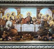 """Икона из янтаря """"Тайная вечеря (Старославянская)"""" 30х50 см в стекле"""