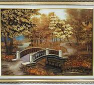 "Картина из янтаря ""Мостик в парке"" 30х40 см"
