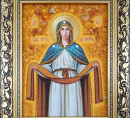 """Икона из янтаря """"Покрова Пресвятой богородицы"""" 15х20 см без стекла"""