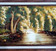 """Картина из янтаря """"Плакучая ива"""" 40х60 см"""
