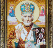 Икона святого Николая Чудотворца из янтаря 30х40 см без стекла