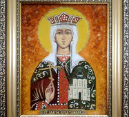 "Именная икона из янтаря ""Святая Тамара"" 15 х 20 см без стекла"