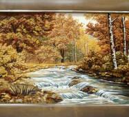 """Картина из янтаря """"Горная река"""" 40x60 см"""