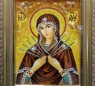 Икона Божией Матери Семистрельная из янтаря 20х30 см в стекле
