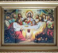 """Икона из янтаря """"Тайная вечеря"""" 20х30 см в стекле"""