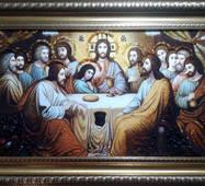 """Икона из янтаря """"Тайная вечеря"""" 30х50 см без стекла"""