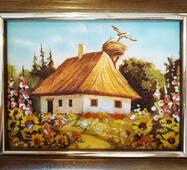 "Картина из янтаря ""Украинский домик"" 15х20 см"