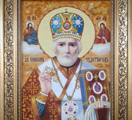 Икона святого Николая Чудотворца из янтаря 20х30 см без стекла