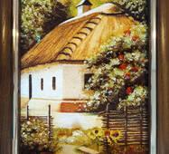 """Картина из янтаря """" Деревенский домик"""" 15х20 см"""