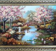"Картина из янтаря ""Цветение сакуры"" 40х60 см"