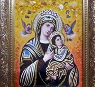 """Икона из янтаря """"Богородица неустанной помощи"""" 20х30 см без стекла"""