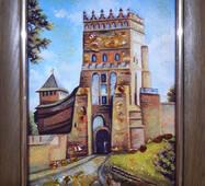 """Картина з бурштину """"Види Луцька. Замок Любарта"""" 20х30 см"""
