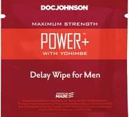 Пролонгуюча серветка Doc Johnson Power  Delay Wipe For Men з  екстрактом йохимбе