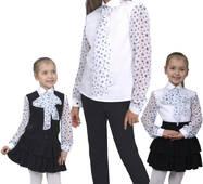 """Блузка детская для девочек сорочечная с шифоном М-1070-1 рост 122-170 тм """"Попелюшка"""" 140"""
