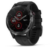 Спортивные часы Fenix 5 Plus Sapphire Black с черным ремешком Garmin
