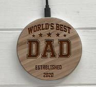 Дерев'яна безпровідна зарядка SkinWood White Fast Charger Dad
