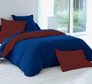 Комплект двустороннего постельного белья Синий +  Темно коричневый