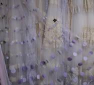 Тюль гардина фиолетово-белый горох