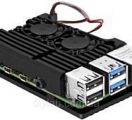 Алюминиевый корпус - радиатор с двумя кулерами для Raspberry Pi 4 Model B