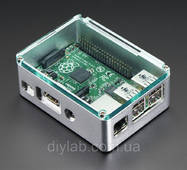 Raspberry Pi B  / Pi 2 - Silver Case with Crystal Top by anidée