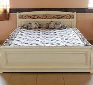 Дерев'яне біле ліжко Вікторія з дуба Явір
