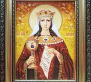 """Икона из янтаря """"Святая Варвара"""" 15х20 см без стекла"""