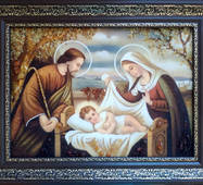 "Икона из янтаря ""Святое семейство"" 30х40 см без стекла"
