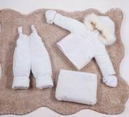 Зимний комбинезон трансформер тройка Natalie Look 56-86 см Белый