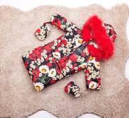Зимний комбинезон трансформер тройка Natalie Look маки 56-86 см Цветной с красным мехом