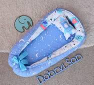 Гніздечко кокон позиционер для новонародженого Добрий сон BabyNest 52х85 см блакитної