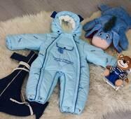 Зимний комбинезон-трансформер Timmy Kids Baby с отстегивающимся мехом 56-86 см голубой