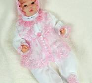 Велюровый наряд на крестины девочке Lari Мари 56 бело-розовый