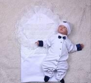 Набор на крестины для мальчика Brilliantbaby Свиточ 56 белый