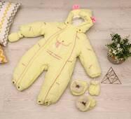 Зимовий комбінезон-трансформер Timmy Kids Baby з хутром, що відстібається, 56-86 см жовтий з рожевим