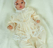 Велюровый наряд на крещение Lari Мари 56 молочно-бежевый
