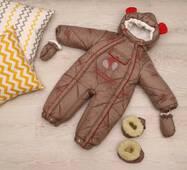 Зимовий комбінезон-трансформер Timmy Kids Baby з хутром, що відстібається, 56-86 см коричневий з червоним