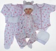 Набір одягу для новонародженого в пологовий будинок Lari 6 предметів 56 біло-рожевий