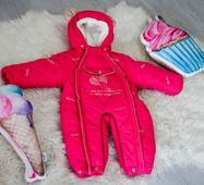 Зимовий комбінезон-трансформер Timmy Kids Baby з хутром, що відстібається, 56-86 см малиновий