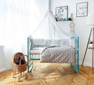 Комплект постільної білизни в ліжечко Панелі 3-10 Сірий