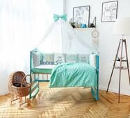 Комплект постільної білизни в ліжечко Панелі 3-10 М'ятно-білий