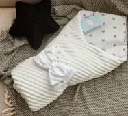 Конверт-ковдра для новонародженого плюш Stripse бязь Осінь Dobryi Son 100х80 см 7-06 Білий