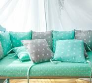 Защита со съемными наволочками в кроватку Dobryi son Bravo 12 шт 3-03-1 Мятно-серая звезда